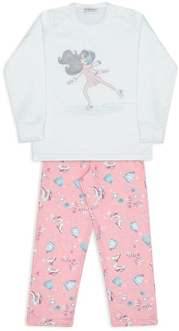 Pijama Infantil Dedeka Moletinho Pijama Flanelado Menina Patinação no Gelo