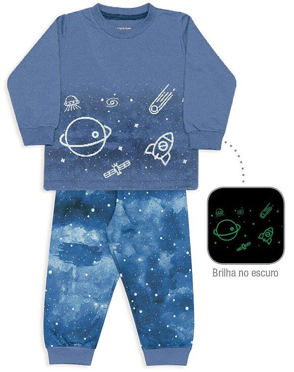 Pijama infantil Dedeka Moletinho flanelado céu noturno Brilha no escuro