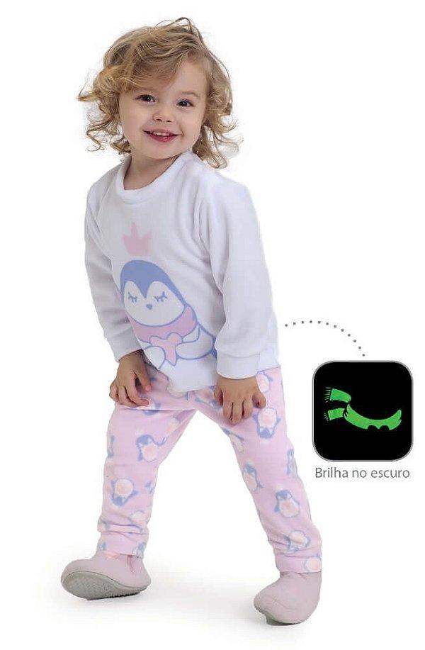 Pijama infantil Dedeka Soft brilha no escuro Pinguim