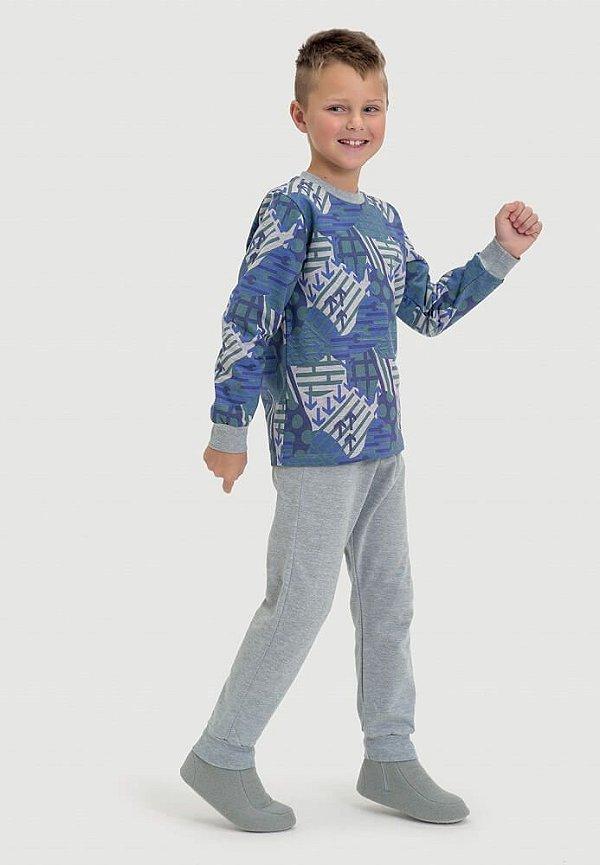 Pijama infantil Dedeka Moletinho flanelado Geométrico
