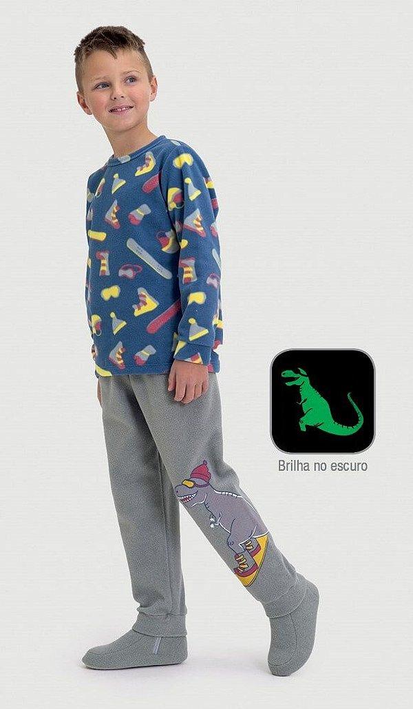 Pijama infantil Dedeka Soft brilha no escuro esquiadores