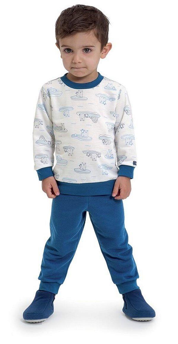 Pijama infantil Dedeka Moletinho flanelado vila gelada