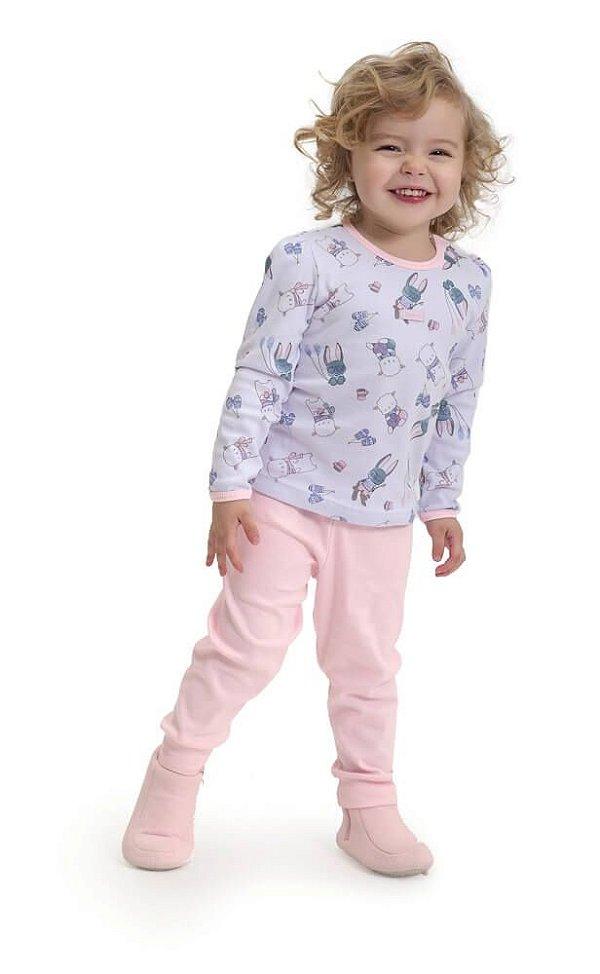 Pijama infantil Dedeka Ribana rosa bichinhos na Neve
