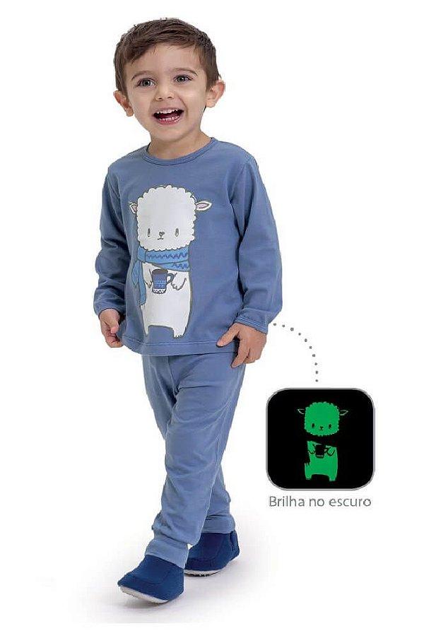 Pijama infantil Dedeka algodão e modal ovelhinha brilha no escuro