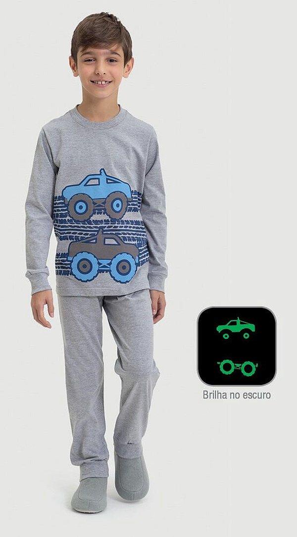 Pijama infantil Dedeka meia malha carros  4x4 Estampa brilha no escuro