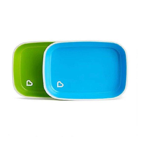 Conjunto De Pratos Munchkin (2 Unidades) Bpa Free Azul e Verde