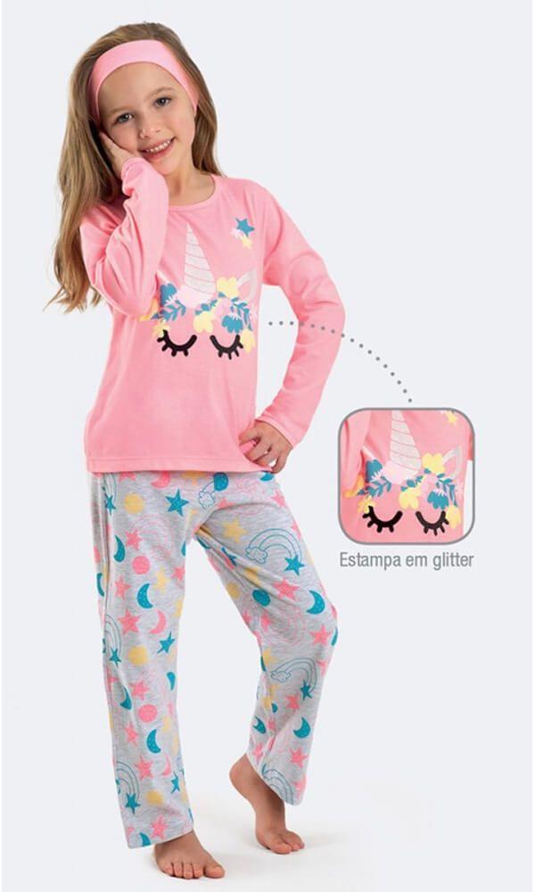 Pijama Infantil Dedeka Unicórnio Meia Malha aplique glitter