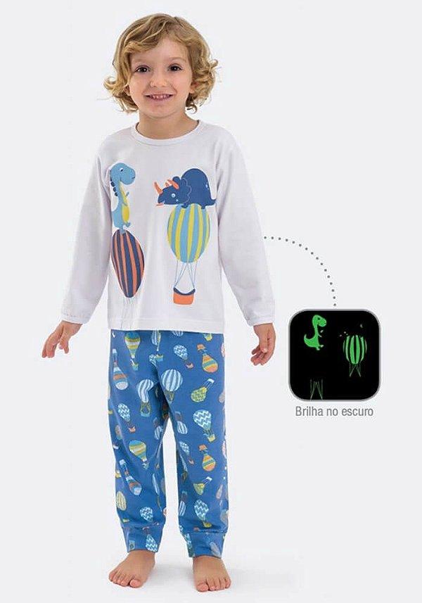 Pijama infantil Dedeka Algodão e Modal Dinossauro Balão