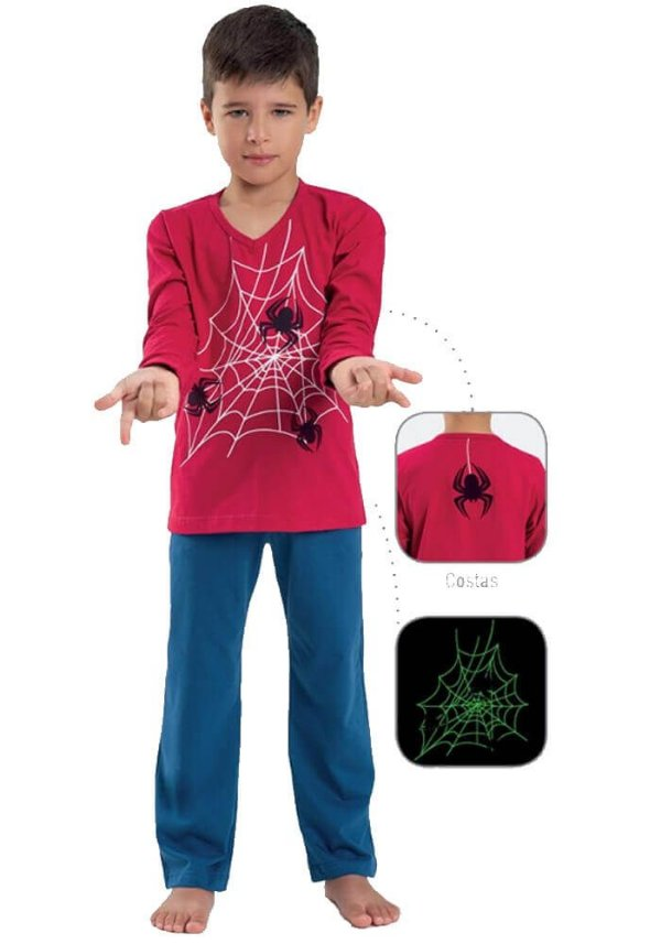 Pijama Infantil Dedeka Brilha No Escuro Homem Aranha