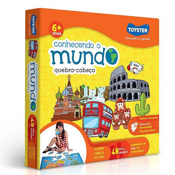 Quebra-cabeça Grandão Mapa Do Mundo Brinquedo Educativo 48pç
