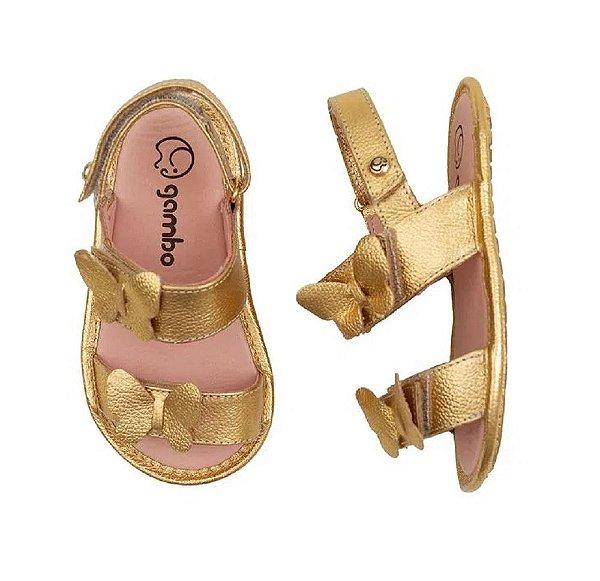 Sandália Infantil Gambo Baby Napa Borboleta Dourado