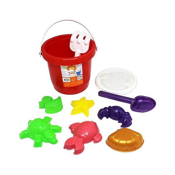 Brinquedo De Praia  Balde Com Brinquedos De Areia 10 Peças