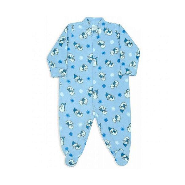 Macacão Bebês Dedeka Moletinho Boneco de Neve Azul