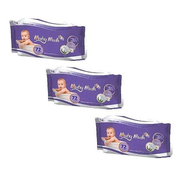 3 Pcts Lenços Umedecidos 72 Un Cada Baby Bath Base D' Àgua