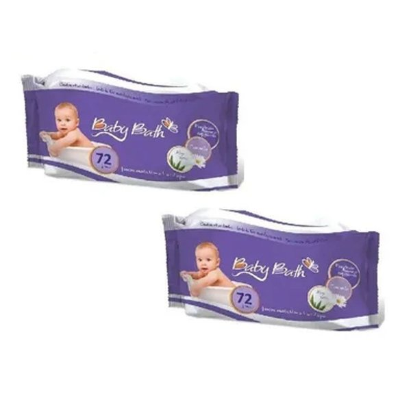 2 Pcts Lenços Umedecidos 72 Un Cada Baby Bath Base D' Àgua