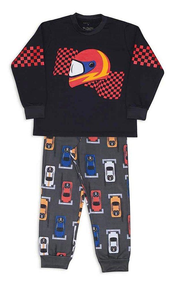 Pijama Infantil Dedeka Moletinho Flanelado Pit Stop