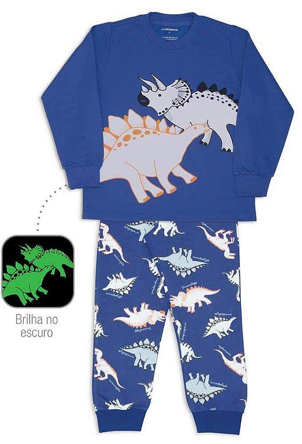 Pijama Infantil Dedeka Moletinho Brilha no Escuro Dino