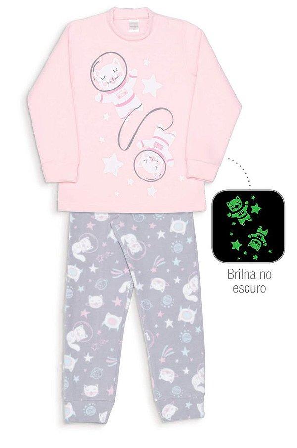 Pijama Infantil Dedeka Pijama Soft Brilha No Escuro Menina Gatas Espaciais
