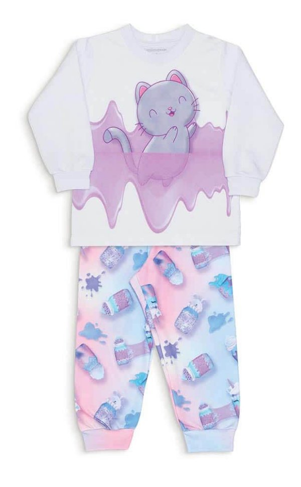 Pijama Infantil Dedeka Moletinho Flanelado Menina Slime Gato
