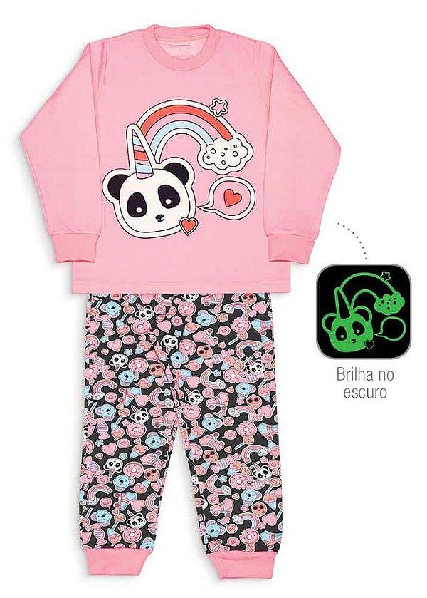 Pijama Infantil Dedeka Brilha No Escuro Moletinho Flanelado Rosa Panda