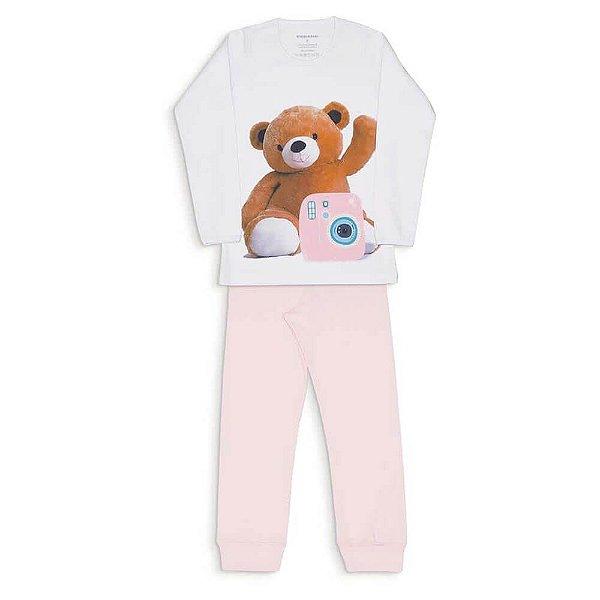Pijama Infantil Dedeka Pijama De Algodão Ribana Menina Branco e Rosa URSO