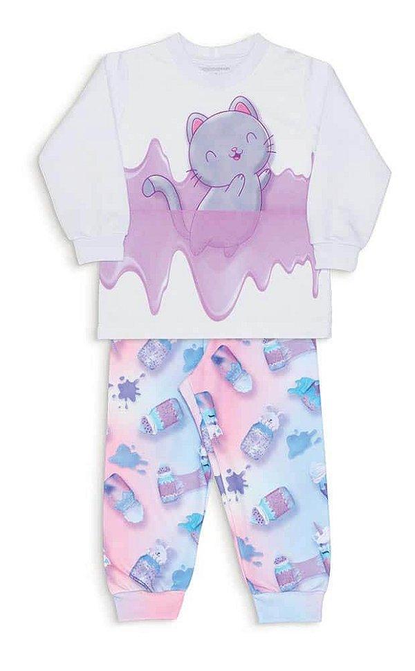 Pijama Infantil Dedeka Moletinho Flanelado Passos Menina Branco Gato Slime