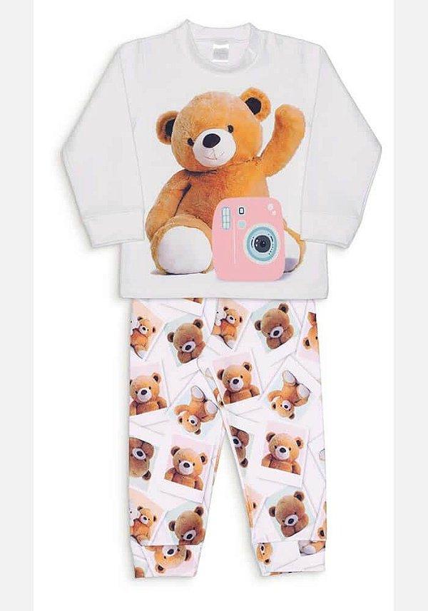 Pijama Infantil Dedeka Pijama De Soft Pijama Dedeka Passos Off White Urso