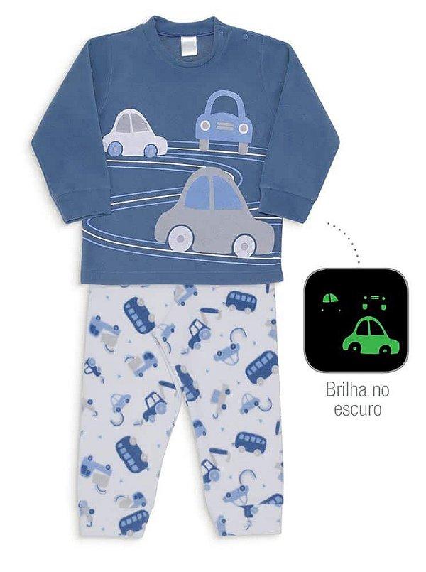 Pijama Infantil Dedeka Pijama Soft  Menino Brilha Escuro Passao Azul Carros