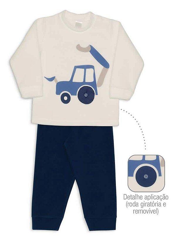 Pijama Infantil Dedeka Pijama De Soft Infantil Passos Menino Azul Carro Trator