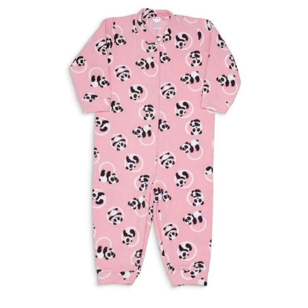 Macacão Infantil De Soft Dedeka Menina Rosa Panda