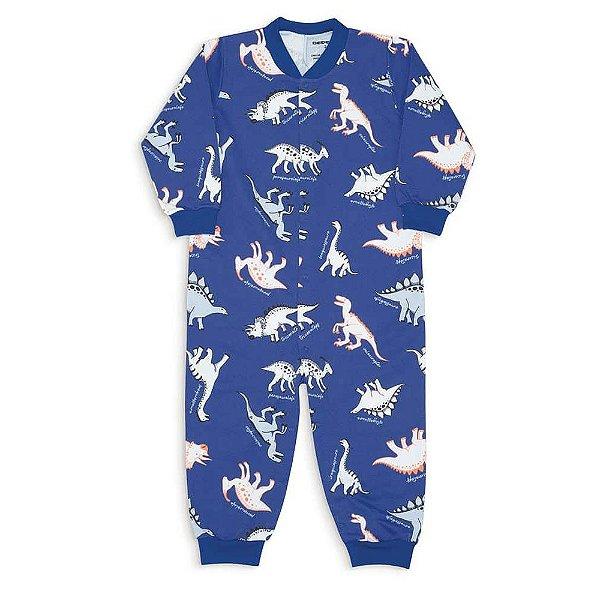 Macacão Infantil Unissex Dedeka Moletinho Flanelado Azul Dinossauro