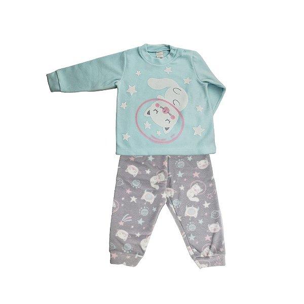 Pijama Infantil Dedeka Pijama De Soft Que Brilha No Escuro Cinza e verde gatinha