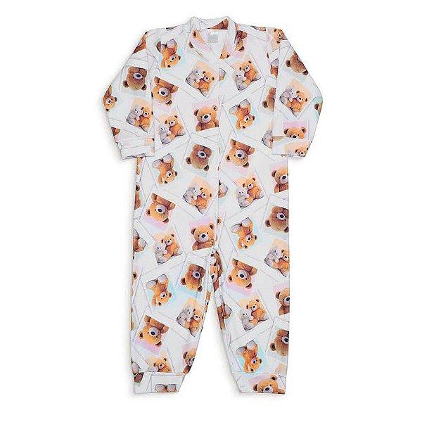 Macacão Infantil De Soft Dedeka Menina Branco Urso