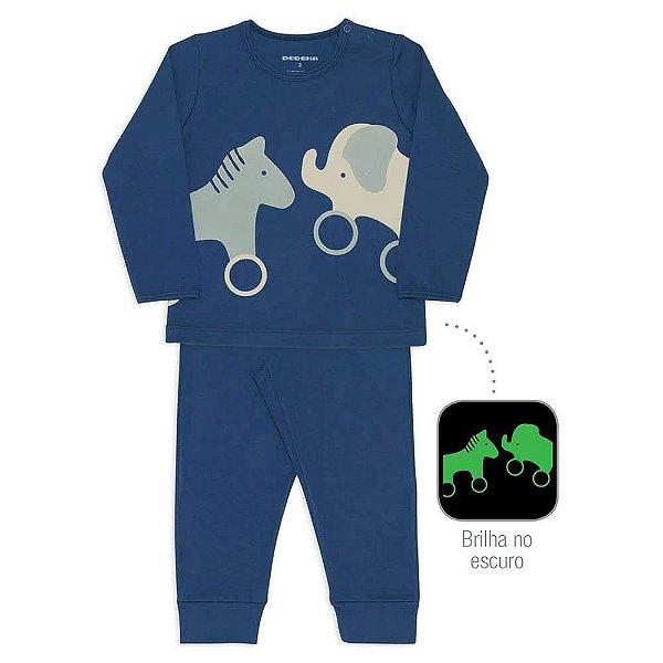Pijama Infantil Dedeka 100% Algodão Suedine Menino Passos Azul-marinho Elefante e cavalinho