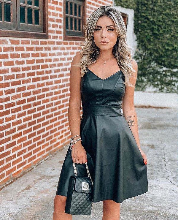Vestido Princesa em couro Fake