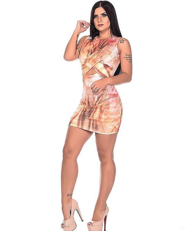 Vestido Estampado Frente Transpassada