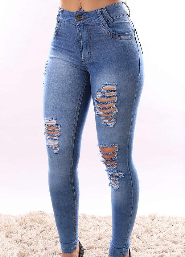 Calça Jeans Clara Cintura Alta com Rasgos