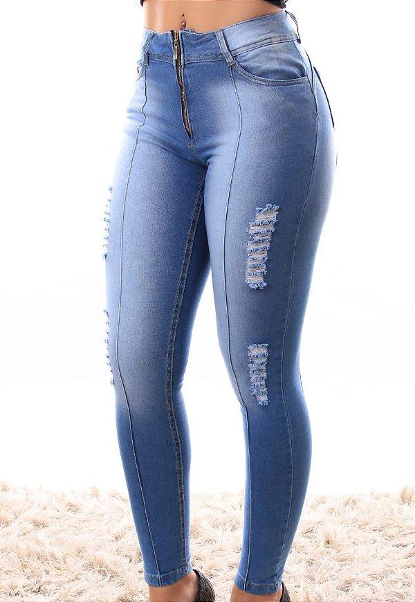 Calça Jeans Detalhada Zíper à Mostra