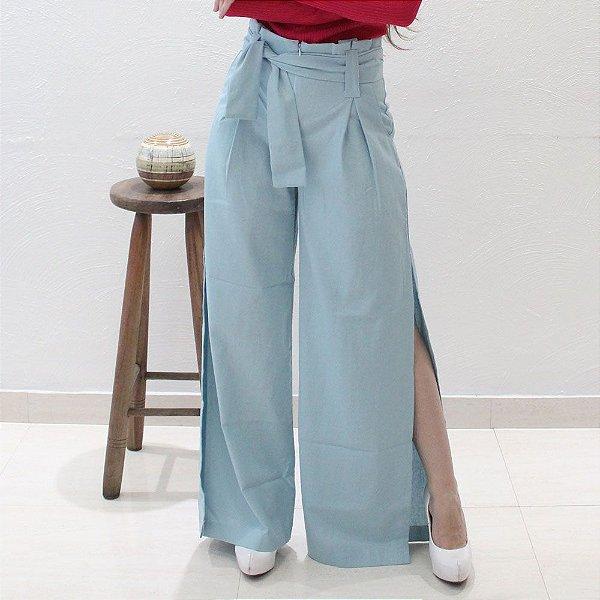 Calça Pantalona em Linho Azul Bebê