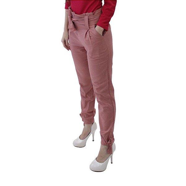 Calça Jogger em Linho Alfaiataria Rosé