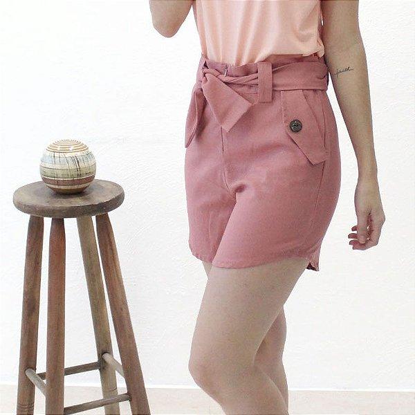 Shorts Alfaiataria em linho Rosé