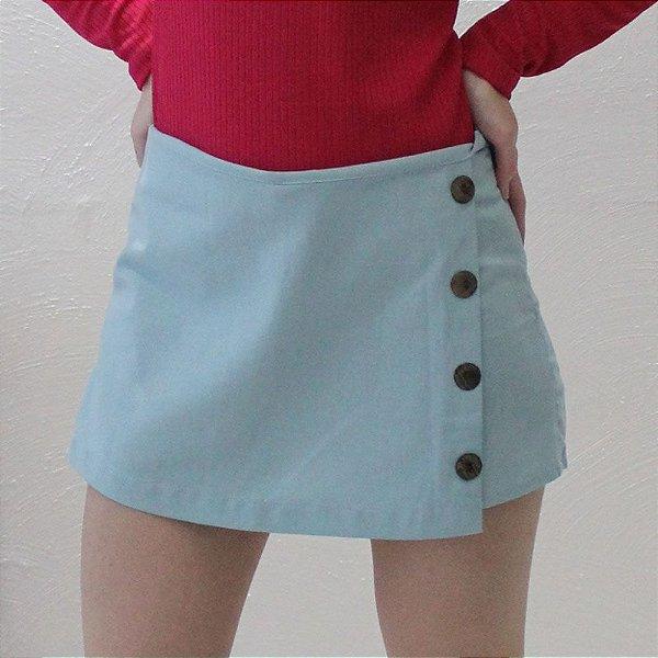 Shorts Saia Alfaiataria em linho Azul bebê