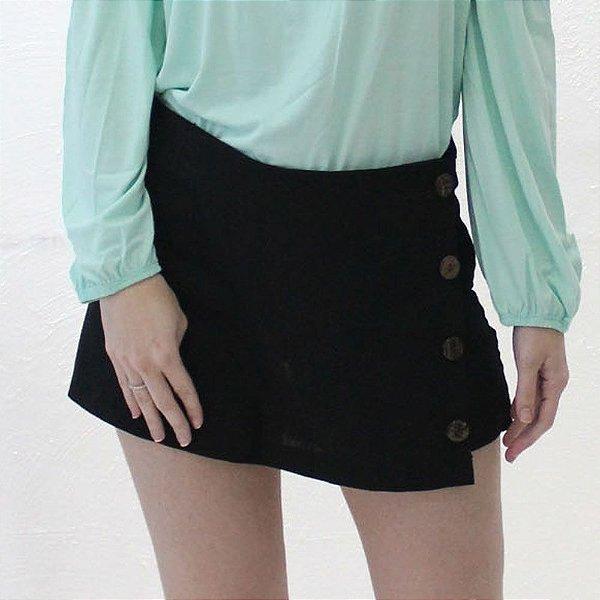 Shorts-saia Alfaiataria em Linho preto