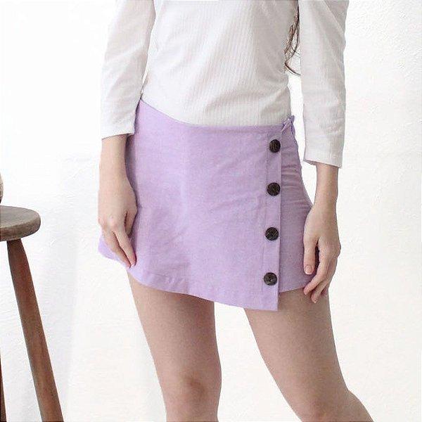 Shorts-saia Alfaiataria em Linho Lilás