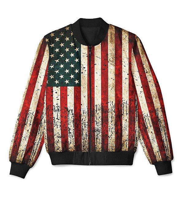 Jaqueta Bomber Com Bolsos Bandeira Americana Unissex