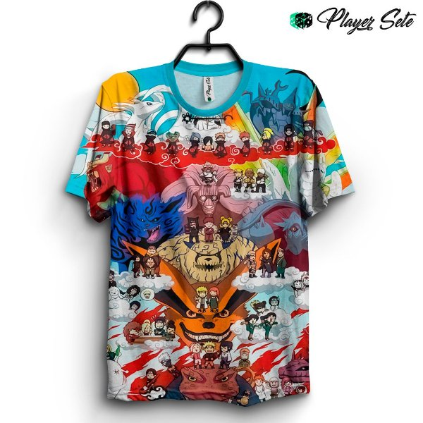 Camiseta 3d Full Anime Naruto Personagens