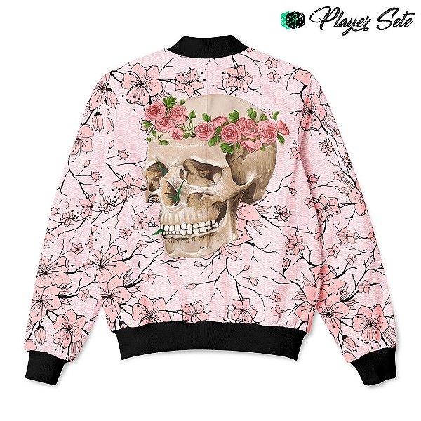 Jaqueta Bomber Com Bolsos Flower Skull