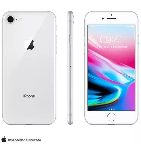 iPhone 8 Apple Original Prata Tela de 4,7 4G WIFI 64Gb Câmera 12 Mp - 1 Ano Garantia Apple