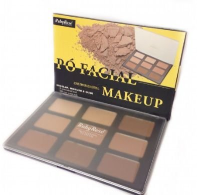 Paleta de pó facial 9 cores nude makeup-Ruby Rose - HB-7208