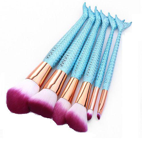 kit com 6 pincéis Sereia  -azul